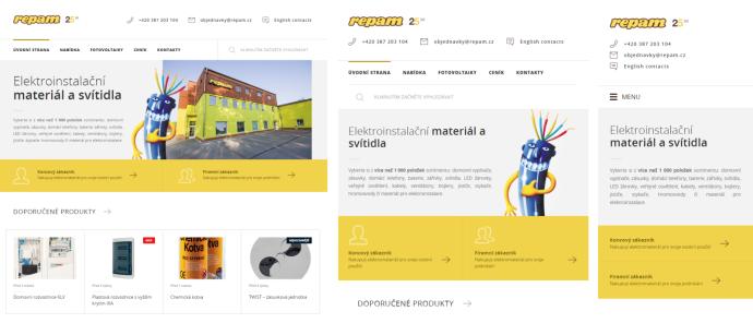 Ukázka nového webu Repam.cz různá zobrazení