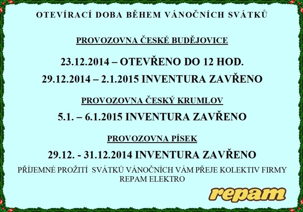 Repam elektro - otevírací doba během vánočních svátků 2014