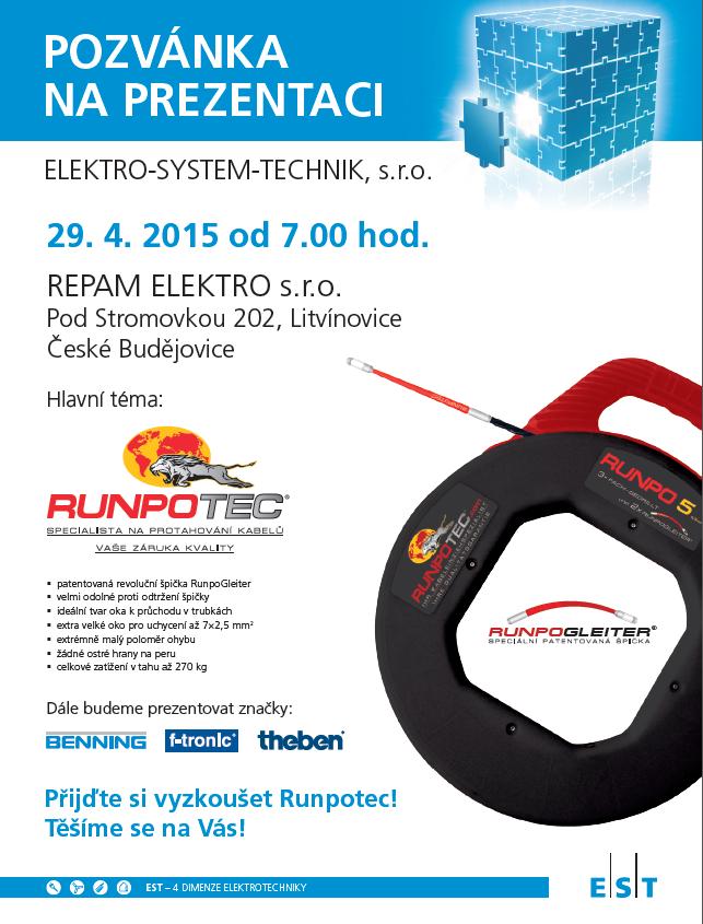 Pozvánka na prezentaci Elektro-System-Technik s.r.o. v Repam Elektro